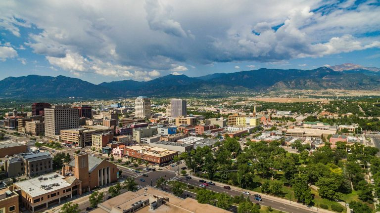areal view of downtown Colorado Springs