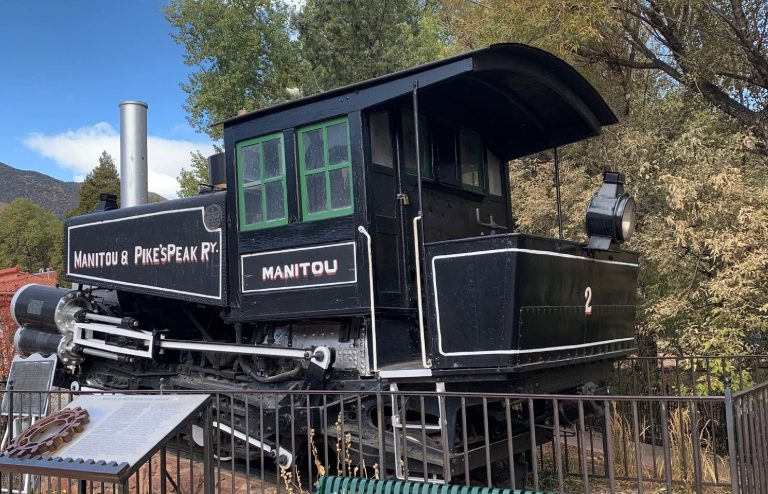 an old black cog train in Manitou Springs Colorado