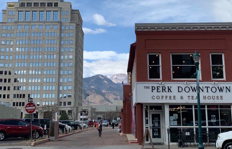 the perk coffee and tea house in downtown Colorado Springs