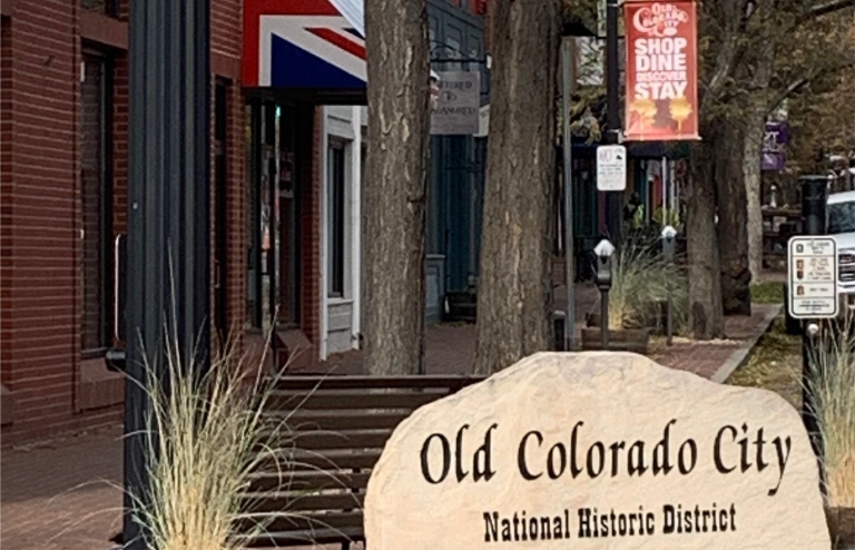 a laser engraved sign in rock that says old colorado city in Colorado Springs